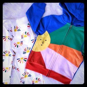 Hanna Andersson 90 3t rainbow sun hoodie pant set